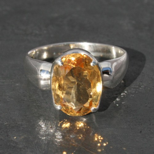 Faceted Citrine Oval Ring