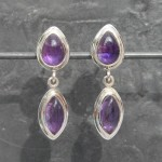 2 Drop Amethyst Studs Earrings