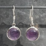 Amethyst Round Cab Earrings