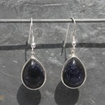 Blue GoldStone Earrings Teardrops