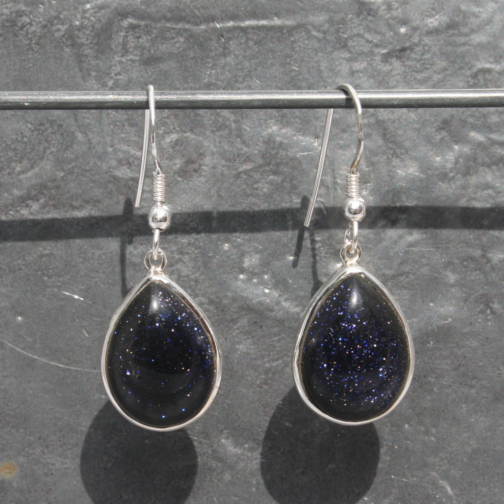 Blue Goldstone Earrings Teardrops