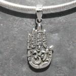 Buddha Hand Om Pendant Origin - India Metal - 925 Sterling Silver Handmade