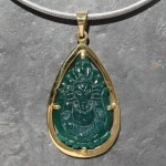 Ganesha Carved Onyx Goldplated Pendant