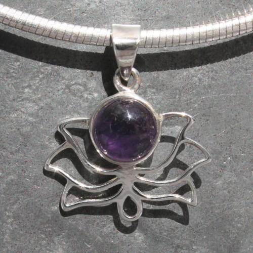 Lotus Amethyst Pendant