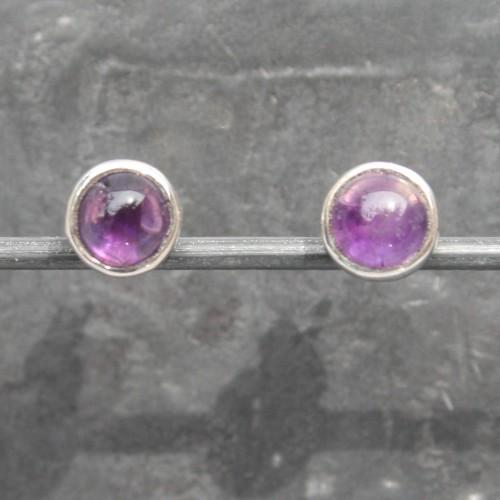 Amethyst Round Studs Earrings