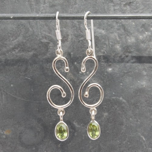 S Design Peridot Earrings