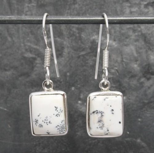 Square Opal Dendrite Earrings