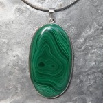 Oval Large Malachite Pendant