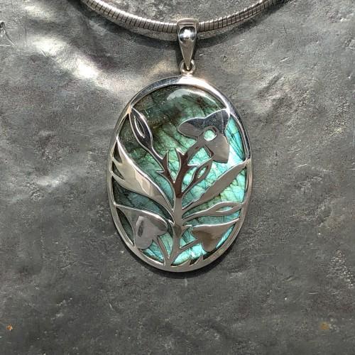 labradorite designer floral leaf filigree pendant